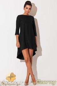 0766ade2b3 CM0833 KATRUS K141 Asymetryczna sukienka tunika z zakładkami z tyłu -  czarna - 2832072873