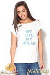 CM0871 KATRUS K167 Klasyczny t-shirt damski z napisem - niebieski nadruk - 2832072903