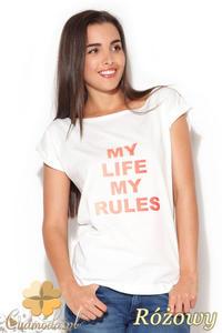 CM0871 KATRUS K167 Klasyczny t-shirt damski z napisem - różowy nadruk - 2832072904