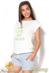 CM0871 KATRUS K167 Klasyczny t-shirt damski z napisem - zielony nadruk - 2832072905