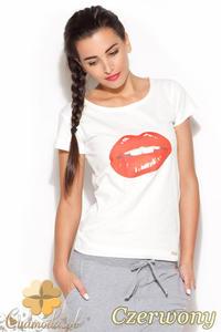 CM0884 KATRUS K176 Klasyczny t-shirt damski z motywem ust - czerwony nadruk - 2832072936