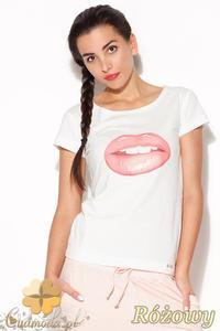 CM0884 KATRUS K176 Klasyczny t-shirt damski z motywem ust - różowy nadruk - 2832072937