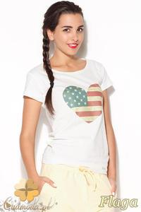CM0885 KATRUS K177 Klasyczna bluzka z oryginalnym nadrukiem - flaga - 2832072938