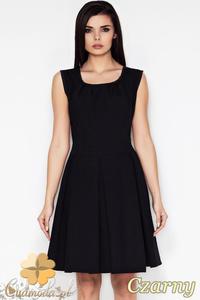 CM0898 AWAMA A63 Klasyczna sukienka kontrafałda z zaszewkami - czarna - 2832072967