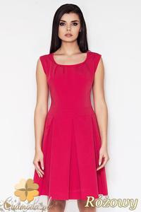 CM0898 AWAMA A63 Klasyczna sukienka kontrafałda z zaszewkami - różowa - 2832072968
