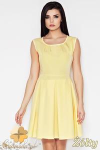 CM0898 AWAMA A63 Klasyczna sukienka kontrafałda z zaszewkami - żółta - 2832072969