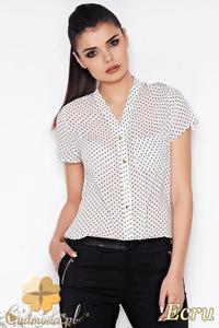 CM0901 AWAMA A71 Koszula damska w kropeczki z krótkim rękawem - ecru - 2832072974