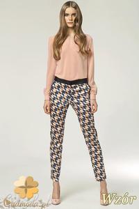 fe7abfb14dfa20 CM0903 NIFE SD12 Eleganckie spodnie damskie z kontrastowym pasem - wzór -  2832072981