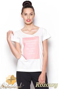 CM0910 FIGL M296 Koszulka damska z napisem - różowy nadruk - 2832073004