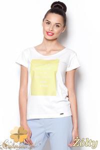 CM0910 FIGL M296 Koszulka damska z napisem - żółty nadruk - 2832073006