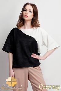 CM0947 LANTI BLU114 Bluzka damska dwukolorowa z kimonowym krótkim rękawem - czarna - 2832073117