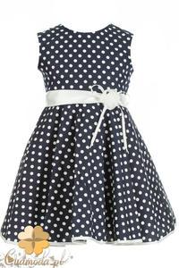 MA064 Dziewczęca sukienka w groszki z lamówką - 2832073124