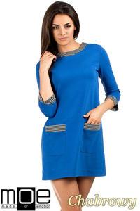 91540945be CM0979 Sukienka tunika retro w stylu lat 60 - chabrowa MOE. Sukienki
