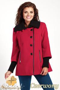 CM0361 Krótki jednorzędowy płaszczyk z flauszu - czerwony