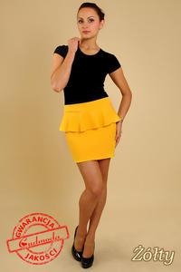 e8024cb62f01eb Sklep: spódniczka mini z baskinką żółta - spódniczka mini z baskinką ...