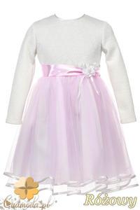 MA090 Tiulowa sukienka dziecięca z atłasową tasiemką - różowa - 2832073436