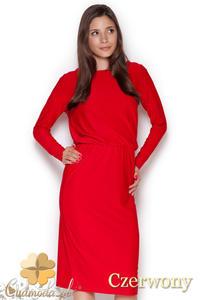 CM1045 Elegancka sukienka midi z długim rękawem - czerwona - 2832073462