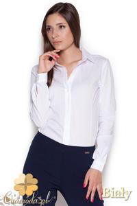 CM1047 Damska koszula-body zapinana na guziki - biała - 2832073471
