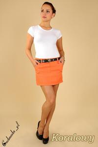 CM0122 Klasyczna prosta mini spódniczka ołówkowa - koralowa - 2832069717