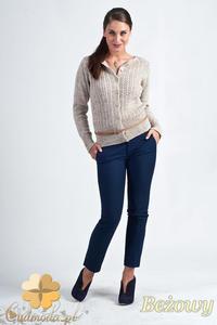 Sklep: cm1152 rozpinany damski sweter typu kardigan brązowy