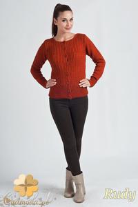 Sklep: cm1152 rozpinany damski sweter typu kardigan rudy