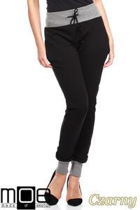 CM1181 Dresowe spodnie damskie ze ściągaczami - czarne - 2832073821