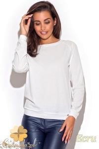 CM1193 Kobieca bluzka z koronkową wstawką na plecach - ecru - 2832073911