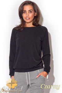 CM1193 Kobieca bluzka z koronkową wstawką na plecach - czarna - 2832073912