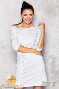 CM1201 Sukienka dresowa z grubej dzianiny - szara - 2832073957