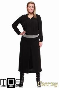 CM1243 Klasyczna spódnica midi z kontrafałdą - czarna
