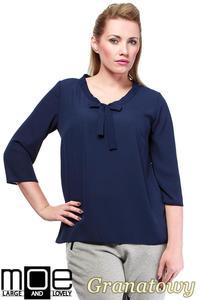 CM1240 Modna bluzka koszulowa z kokardą - granatowa - 2832074087