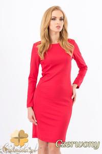 CM1267 Klasyczna sukienka midi z przeszyciami na bokach - czerwona OUTLET - 2832074143