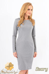 CM1267 Klasyczna sukienka midi z przeszyciami na bokach - szara OUTLET - 2832074144