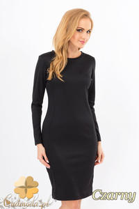 CM1267 Klasyczna sukienka midi z przeszyciami na bokach - czarna - 2832074145