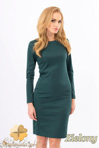CM1267 Klasyczna sukienka midi z przeszyciami na bokach - zielona - 2832074146