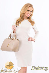 CM1267 Klasyczna sukienka midi z przeszyciami na bokach - beżowa - 2832074147