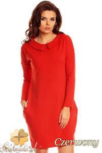 CM1263 Elegancka sukienka midi z kołnierzykiem - czerwona - 2832074182
