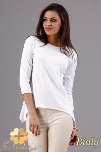 CM1282 Klasyczna bluzka z dekoltem i rękawem 3/4 - biała - 2832074288