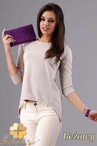 CM1282 Klasyczna bluzka z dekoltem i rękawem 3/4 - beżowa - 2832074289