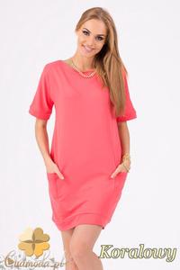 CM1285 Kobieca sukienka dresowa z kieszeniami - koralowa - 2832074297
