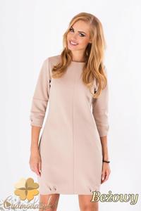 CM1289 Klasyczna sukienka damska z krytym suwakiem - beżowa - 2832074312