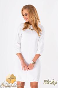 CM1289 Klasyczna sukienka damska z krytym suwakiem - biała - 2832074313