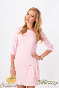 2ab5b3b742 CM1290 Oryginalna kobieca sukienka z falbanką - różowa - 2832074316