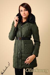 CM0079 Elegancki płaszczyk zimowy z futrzanym kołnierzem - oliwkowa - 2832069351