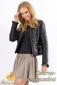 CM1336 Dwukolorowa sukienka midi z długim rękawem - czarno-cappuccino - 2832074412