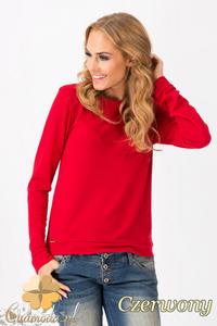 CM1342 Prosty sweterek damski o klasycznym kroju - czerwony - 2832074445
