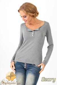 CM1349 Klasyczny sweter damski z długim rękawem - szary - 2832074473