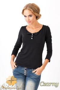 CM1349 Klasyczny sweter damski z długim rękawem - czarny - 2832074474