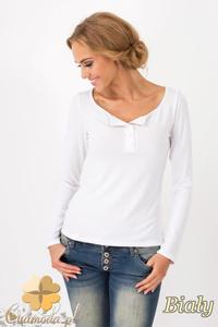 CM1349 Klasyczny sweter damski z długim rękawem - biały - 2832074475