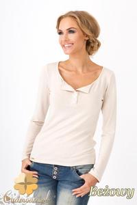 CM1349 Klasyczny sweter damski z długim rękawem - beżowy - 2832074476